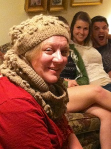 Mom modeling my knits