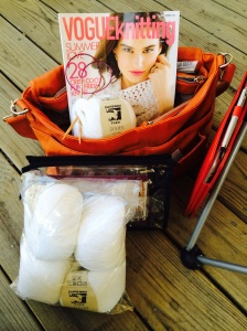 My Knitting Bag, (Cezanne by Jordana Paige), yarn, pattern, and needles.