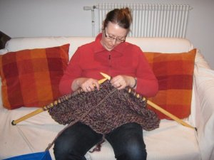 knitting on giant needles