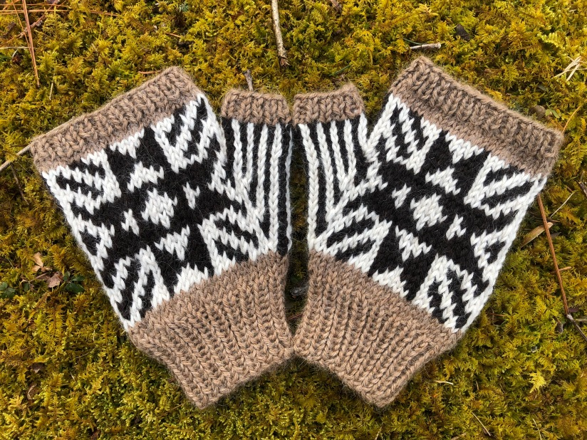 Mittens shown back of hand side up.